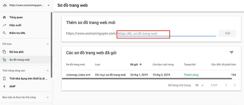 Tính năng thông báo sitemap của Google Search Console