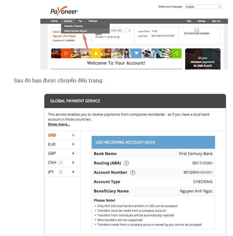 Cách lấy thông tin tài khoản để nhận tiền về Payoneer