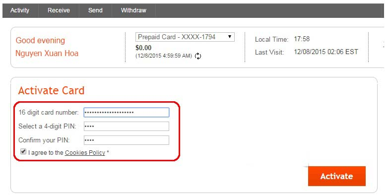 Hướng dẫn kích hoạt thẻ Payoneer Mastercard
