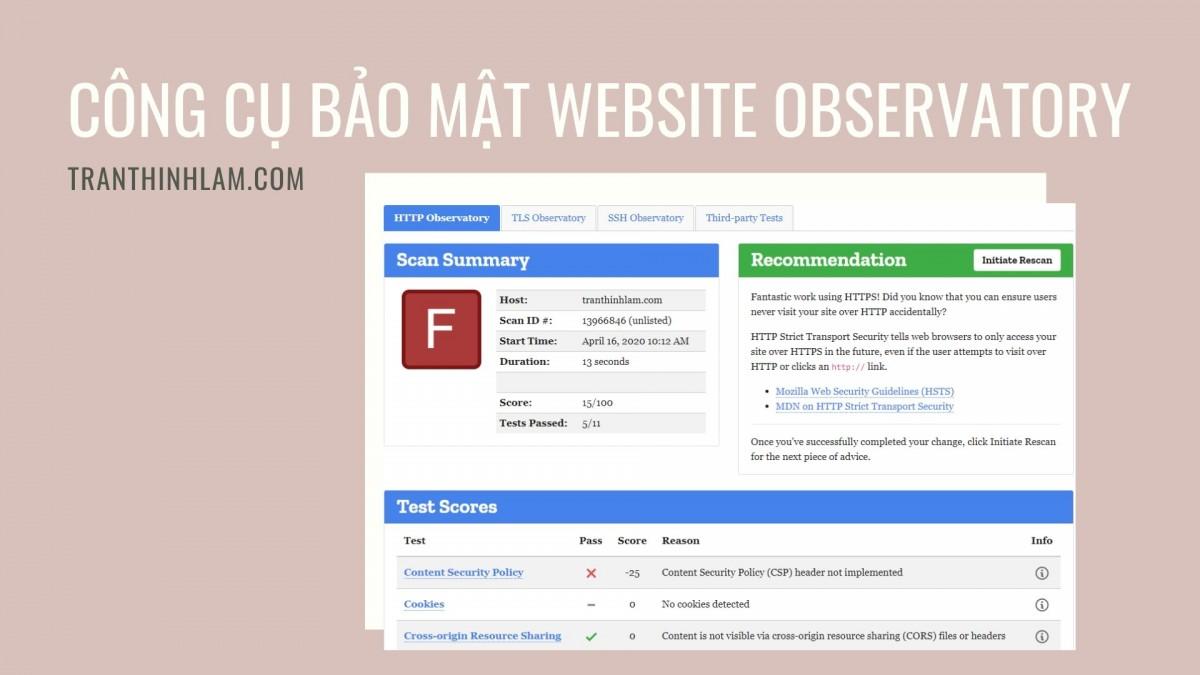 Công cụ bảo mật website Observatory