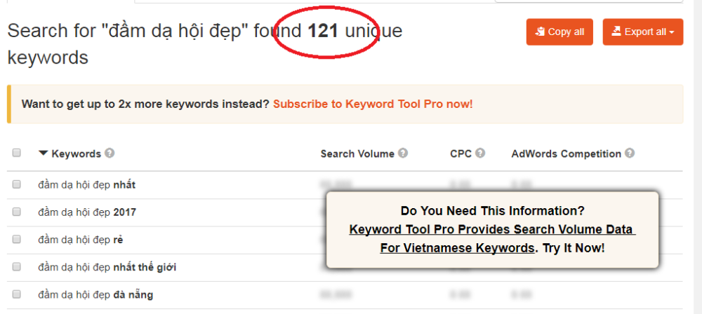 Kết quả từ công cụ Keywordtool.io