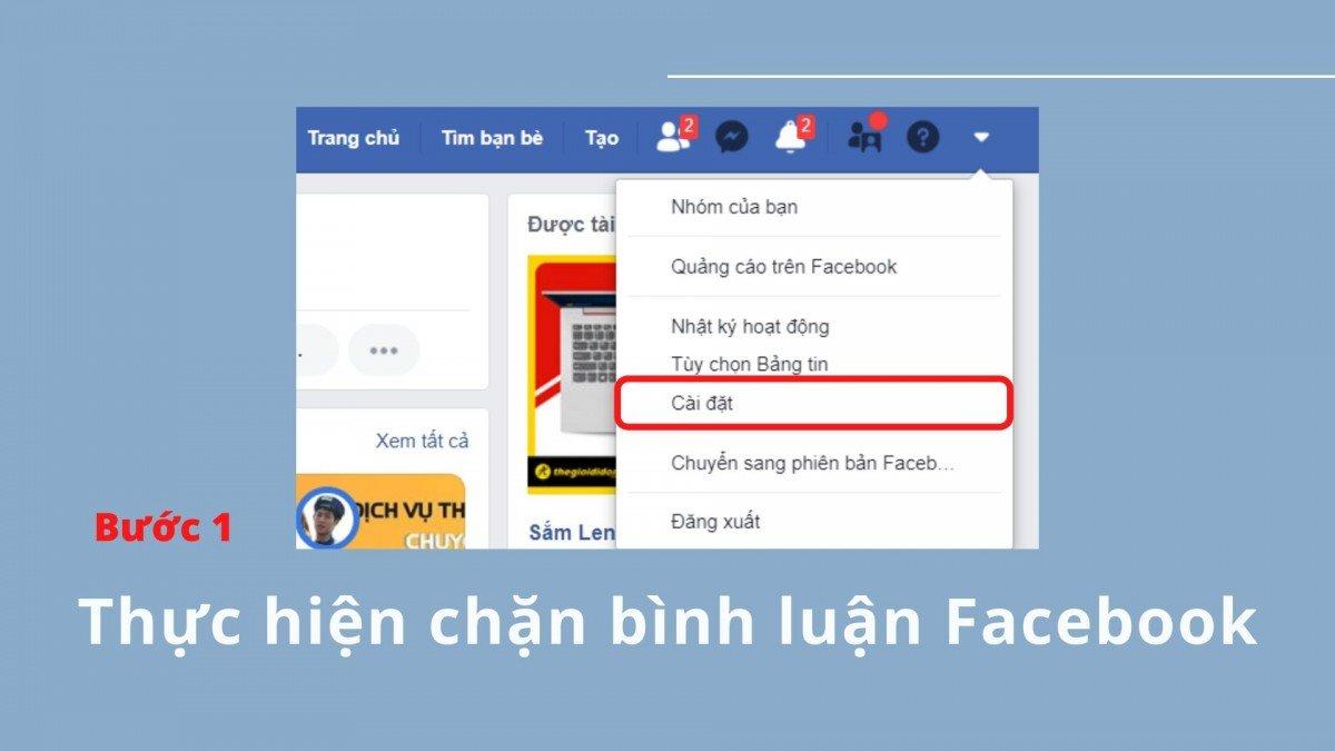 Thực hiện chặn bình luận Facebook