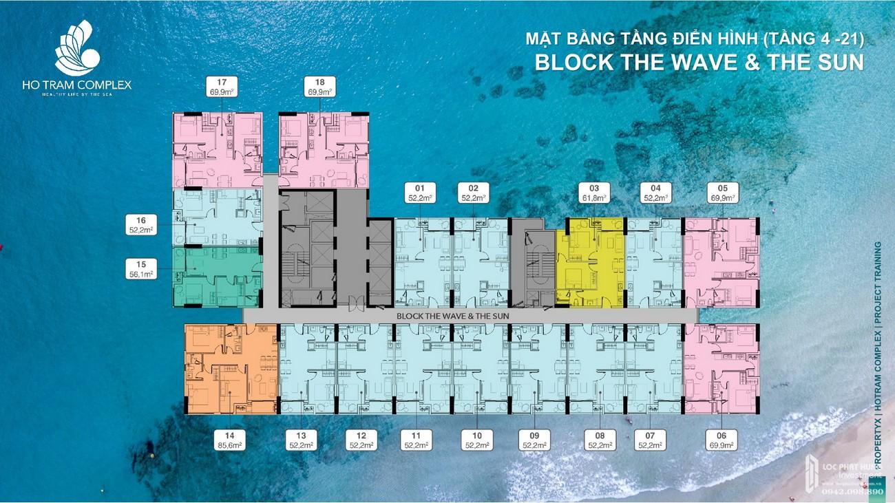 Mặt bằng Block The Wave & The Sun từ tầng 4-21 của dự án căn hộ Hồ Tràm Complex chủ đầu tư Hưng thịnh