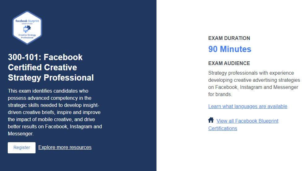 Chứng nhận nhà sáng tạo chiến lược chuyên nghiệp của Facebook